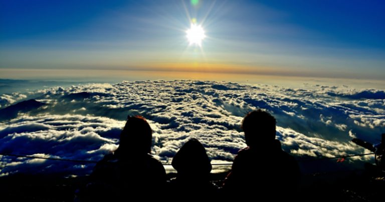 Sunrise worshiping from Mt Fuji summit