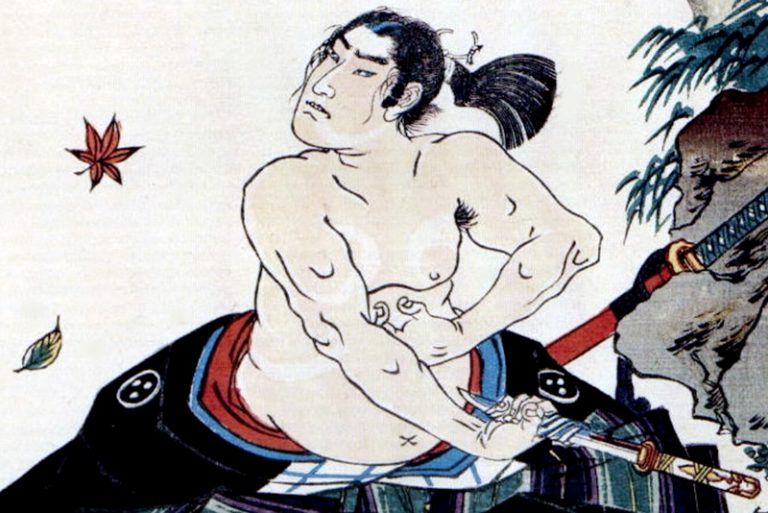 Woodblock print of a Samurai warrior trying to cut his stomach