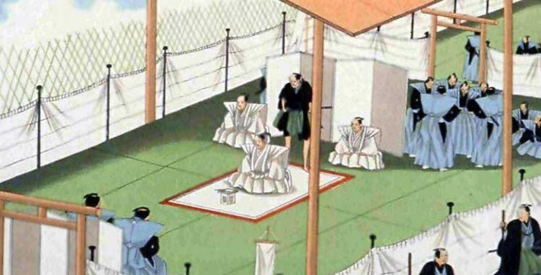 A scene Samurai warlord committing Seppuku.
