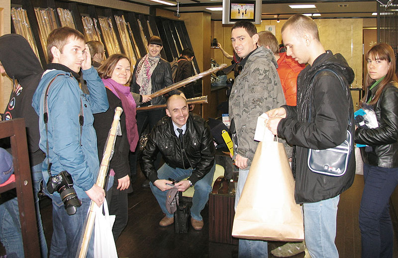 Tozando's happy customers visiting Kendo specializing store in Nishijin, Kyoto