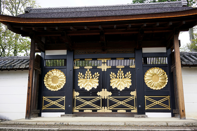 The black and gold lacquered gate of Daigo temple in Kyoto.