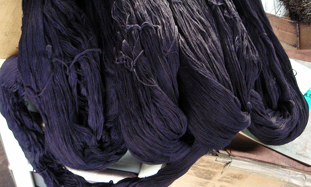 Bundles of indigo dyed cotton yarns