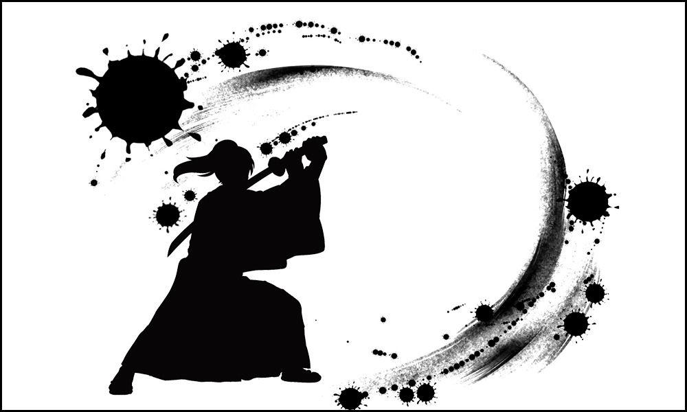 Illustration of Samurai drawing his sword