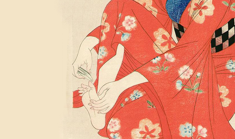 Woodblock print depicting a Geisha cutting her nails