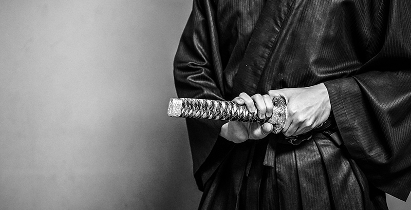 Samurai drawing a sword