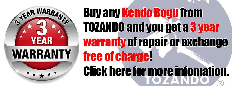 Tozando 3 year Kendo Bogu Warranty