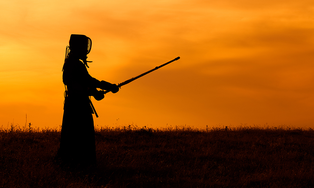 Kendo practice Keiko in the sunset
