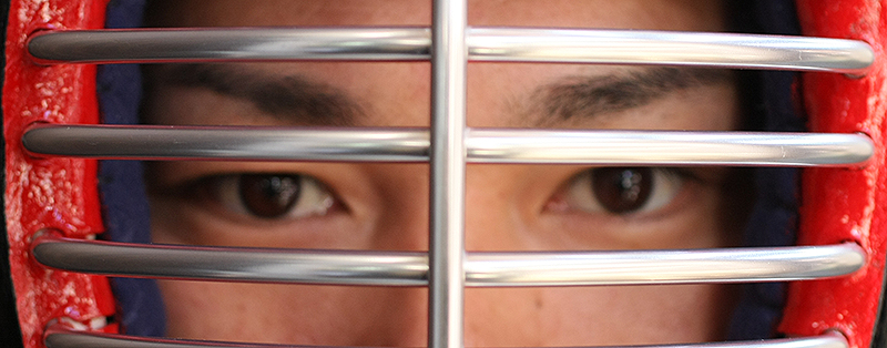 Eyes behind Kendo Mengane metal bars