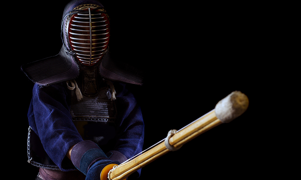 Kendo player with Chudan no Kamae