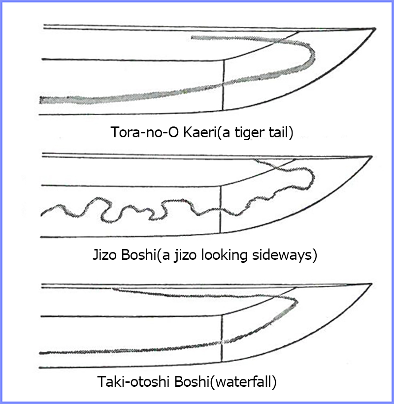 Example of unique Boshi(Japanese sword kissaki hamon) - Jizo Boshi, Tora-no-O Kaeri boshi, Taki-otoshi boshi