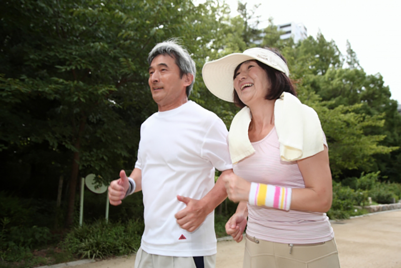 Jogging middle-aged couple