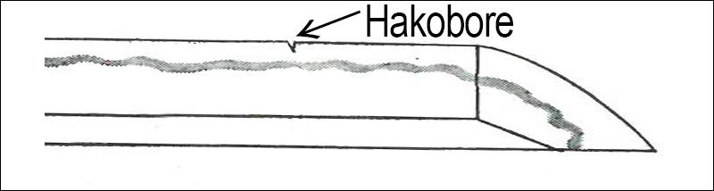 Illustration of Japanese sword kizu - Hakobore