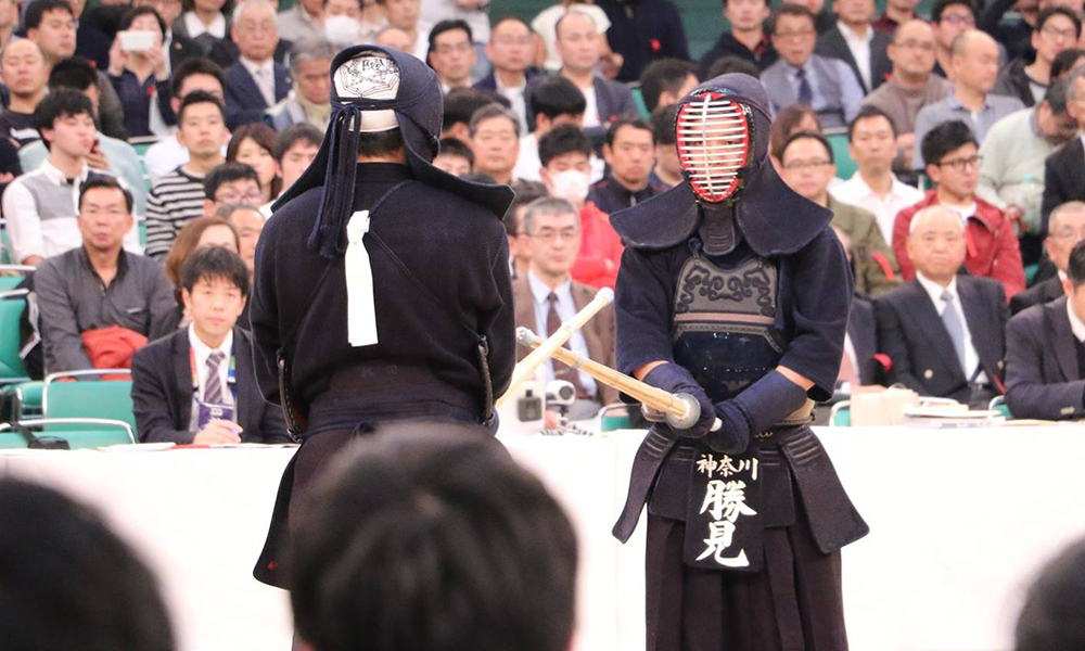 Katsumi Yosuke facing his opponent at the 66th All Japan Kendo Championship Taikai