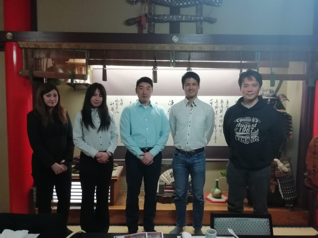Steve, his new friend Hoang and the Tozando International Team at a restaurant in Kyoto.