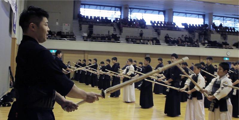Suburi with Nishimura Sensei at the 2019 Tozando Renseikai.