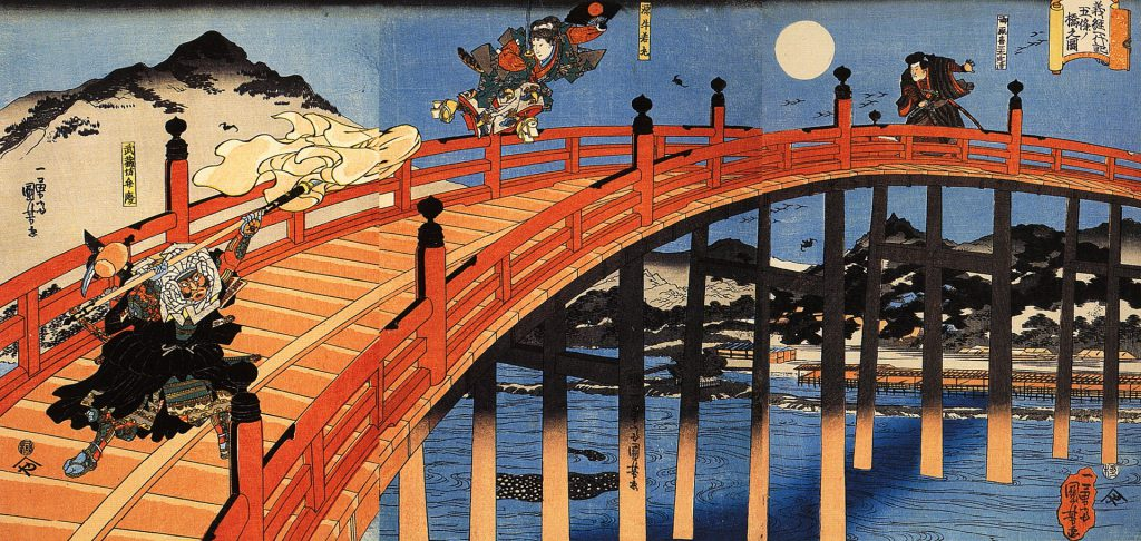 The warrior-monk Genpei duels with Minanmoto Yoshitsune on Kyoto's Gojo Bridge in the Heian period.