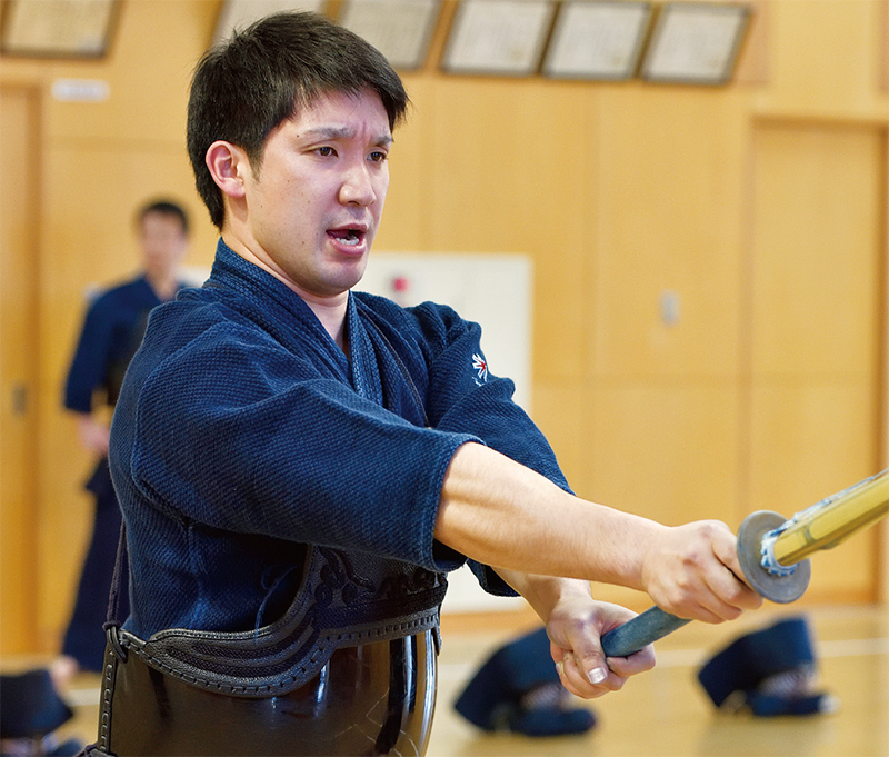 Ando Sho doing Kendo Keiko practice at dojo in Hokkaido