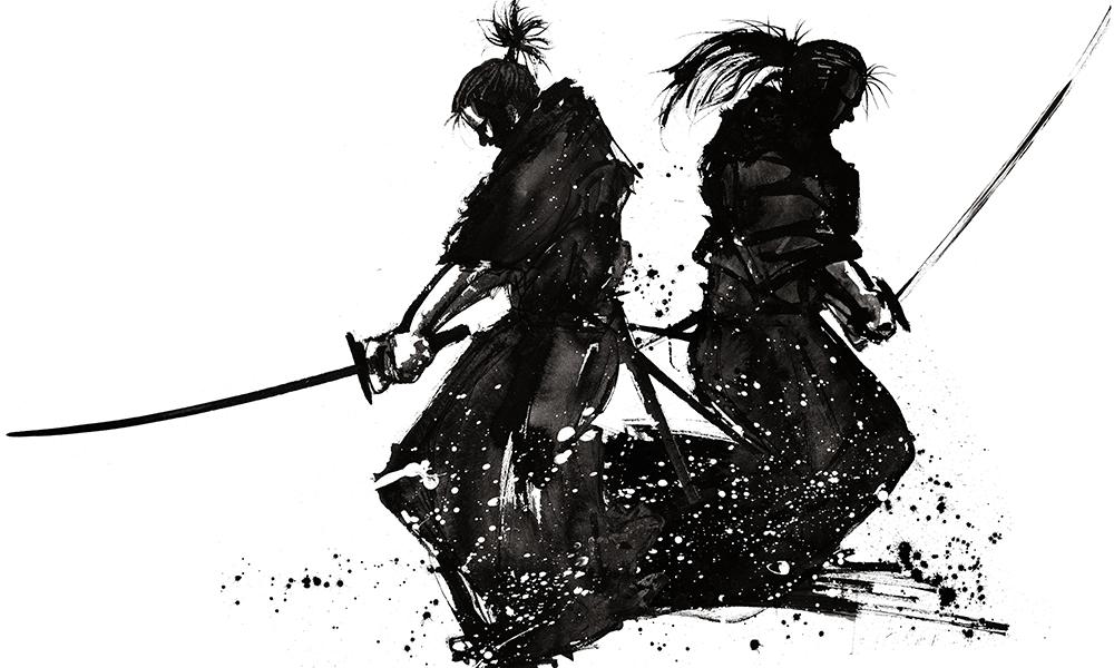 Brush painting of Musashi versus Yoshioka Seijuro