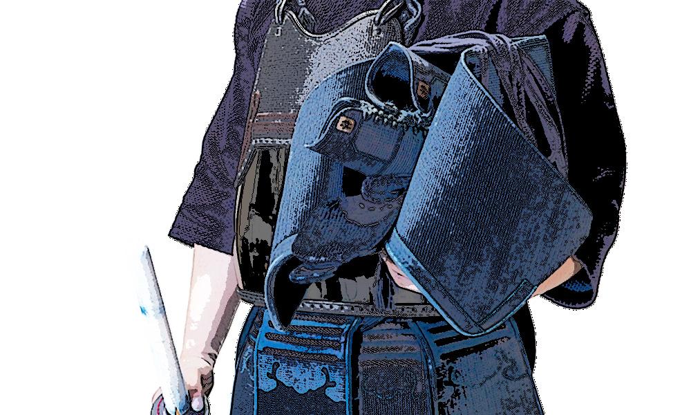 Illustration of Kendo player holding Men and Shinai